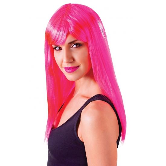 Image of Roze damespruik met froufrou