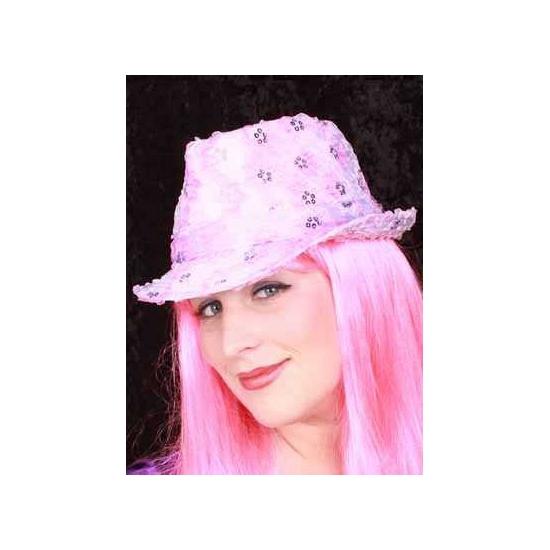 Image of Roze glitter hoedje voor volwassenen