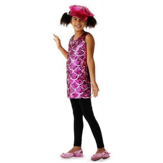 Image of Roze glitter jurkjes met schubben patroon