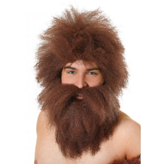 Image of Ruige holbewoners pruik en baard