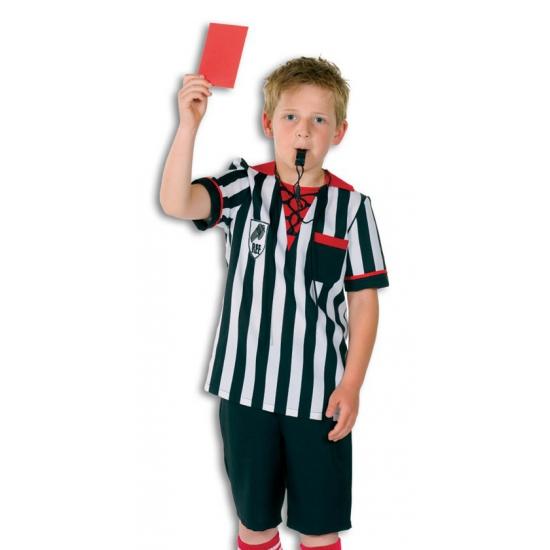 Scheidsrechter kostuum voor kinderen. zwart met wit scheidsrechters pakje voor kinderen. inclusief broek en ...