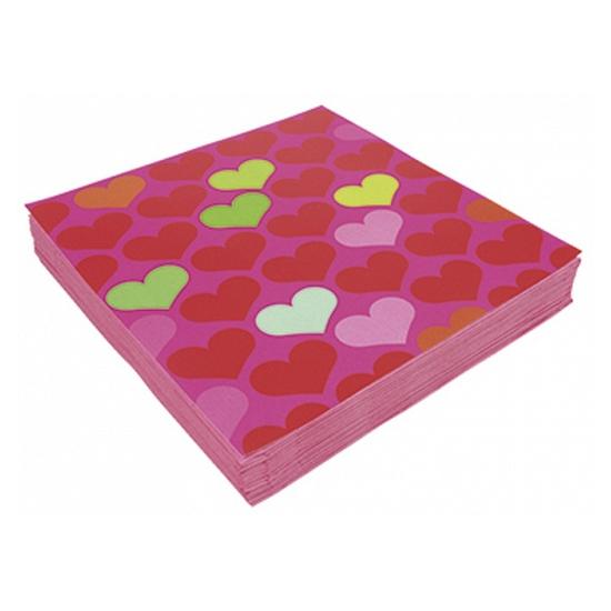 Image of Servetten met gekleurde hartjes