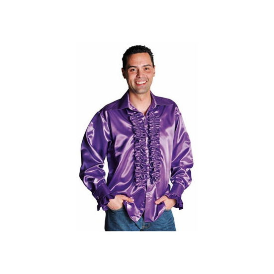 Seventies blouse paars met rouches