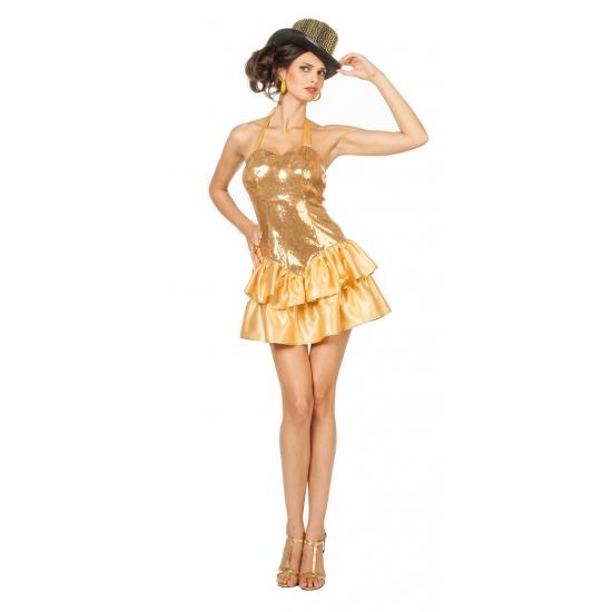 Image of Sexy gouden halterjurk met satijnen rok