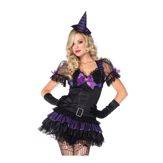 Image of Sexy heksen jurkje zwart/paars