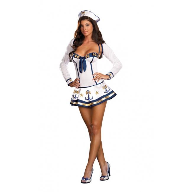 Image of Sexy matrozen jurkje wit met blauw