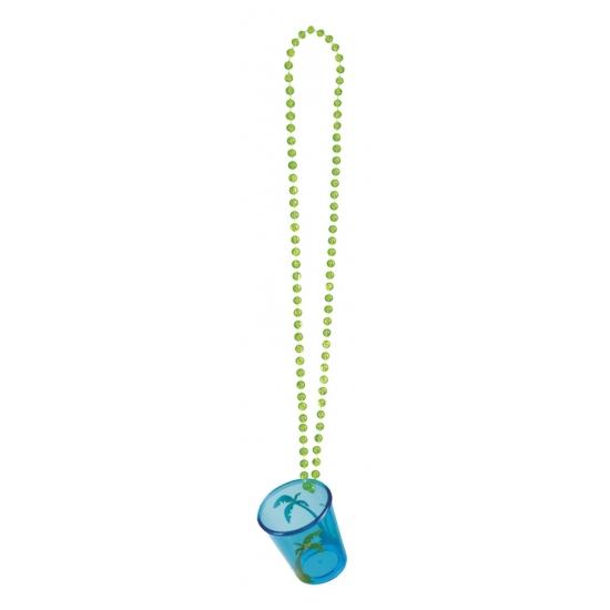 Image of Shotjes glas aan ketting blauw palmbomen