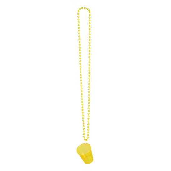 Image of Shotjes glas aan ketting geel