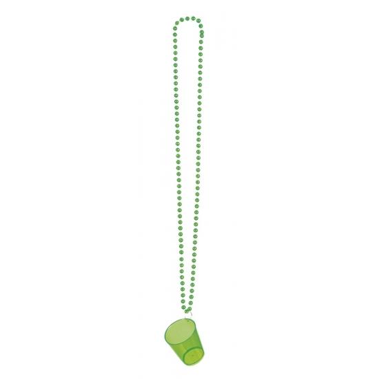 Image of Shotjes glas aan ketting groen