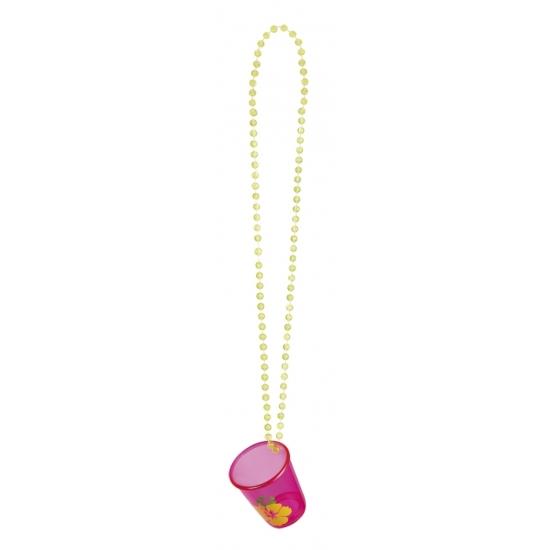 Image of Shotjes glas aan ketting roze gele bloem