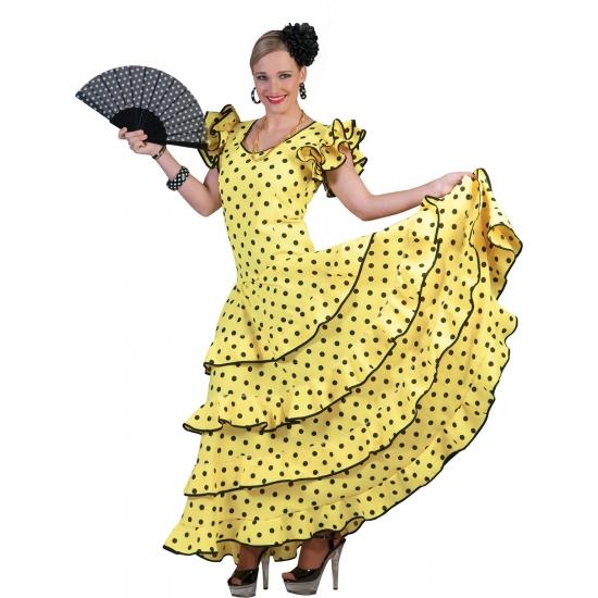 Image of Spaanse flamencojurk geel met zwarte stippen
