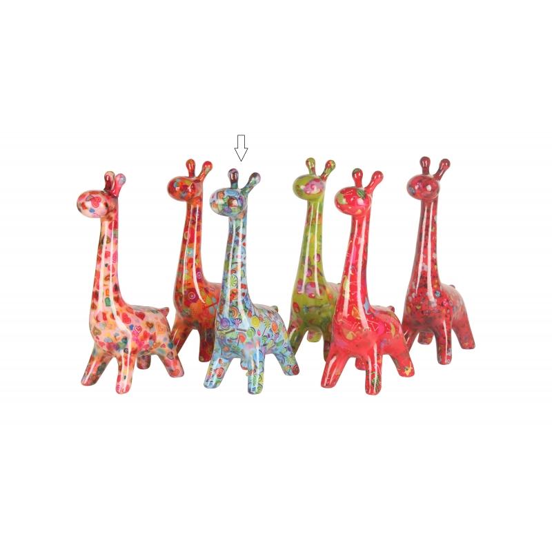 Image of Spaarpot giraffe 28 cm blauw