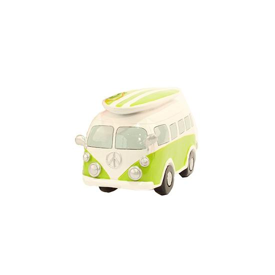 Image of Spaarpot lime groene Volkswagen bus