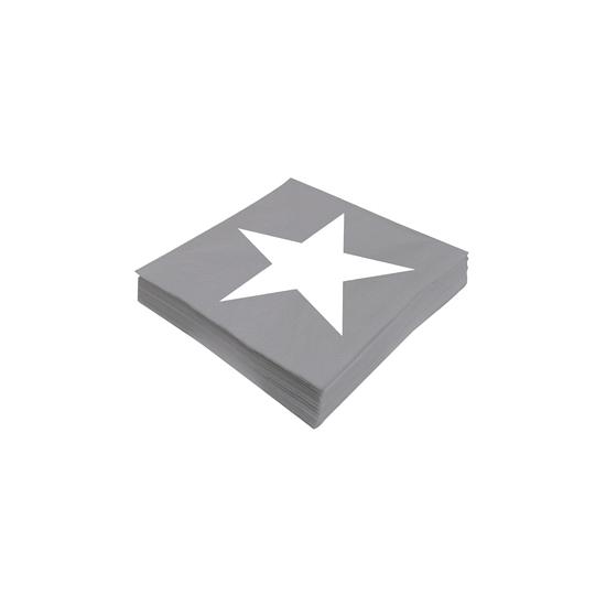 Image of Ster servetten grijs 20 stuks