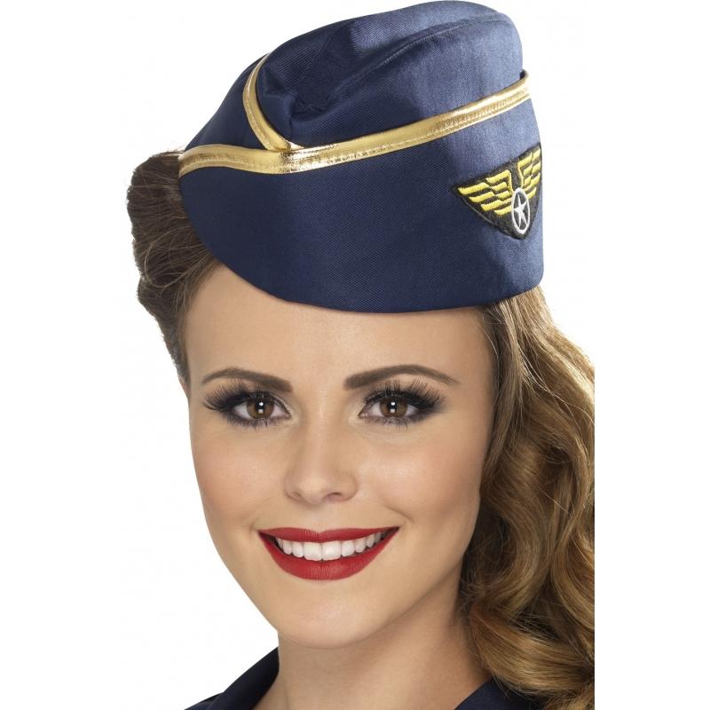 Image of Stewardess hoedjes met gouden rand