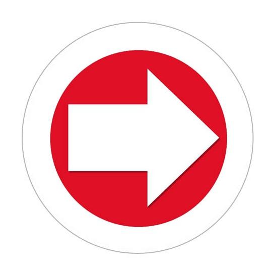 Image of Sticker met richtings pijl met witte rand
