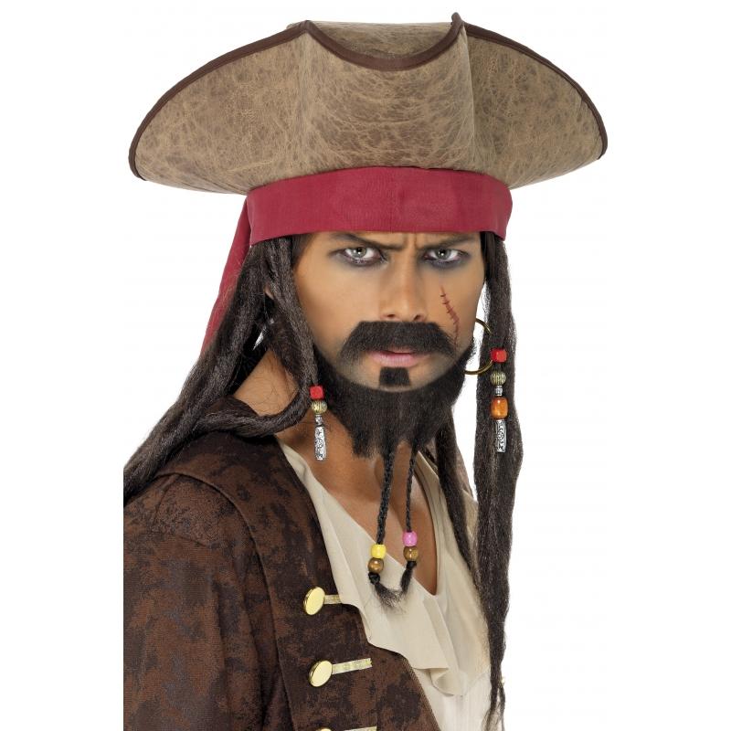 Image of Stoffen piraten hoeden met haar