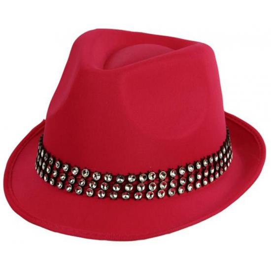 Image of Thema roze hoeden met steentjes
