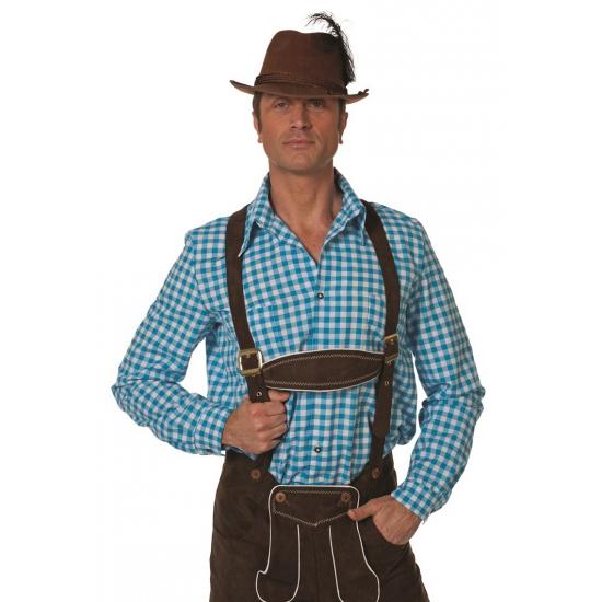 Image of Tiroler hemd blauw wit geblokt
