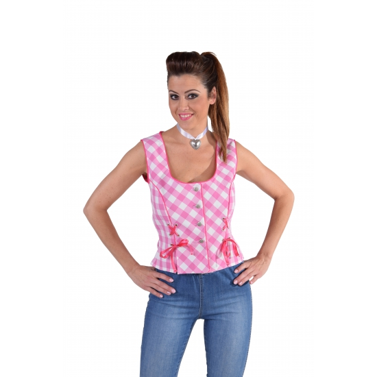 Tiroler hemd geruit roze