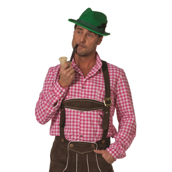 Image of Tiroler hemd roze wit geblokt