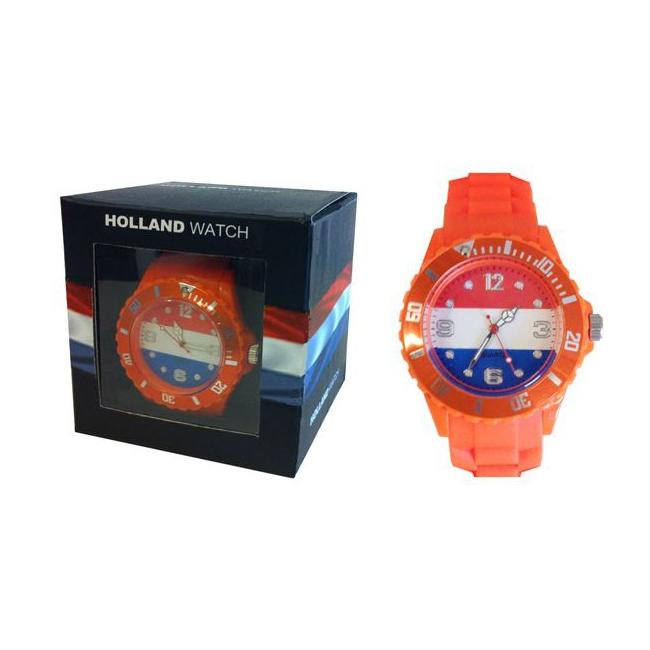 Trendy horloge rood wit blauw voor dames