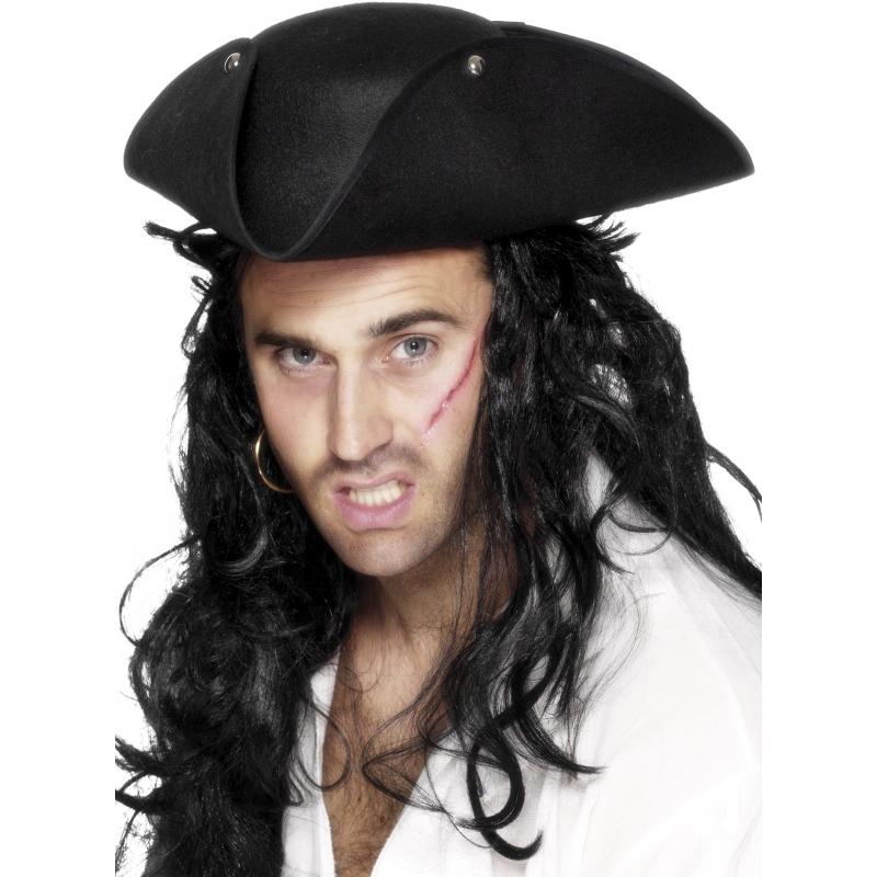 Image of Vilten piraten hoed zwart