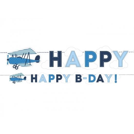 Image of Vliegtuig thema wenslijn Happy Birthday