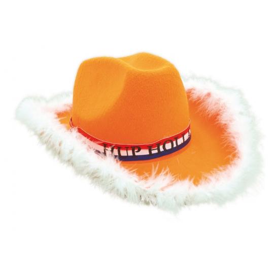 Voetbalsupporter cowboyhoed oranje