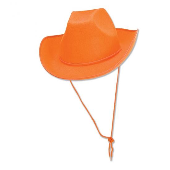 Voetbalsupporter oranje cowboy hoed