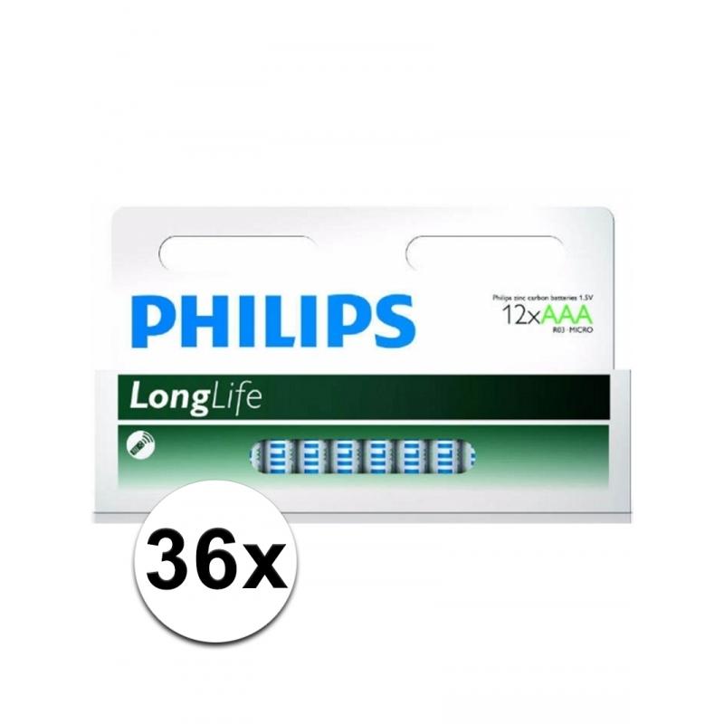 Image of Voordeel pakket met 36 Philips long life AAA batterijen