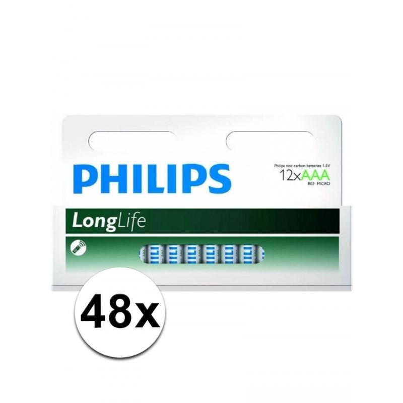Image of Voordeel pakket met 48 Philips long life AAA batterijen