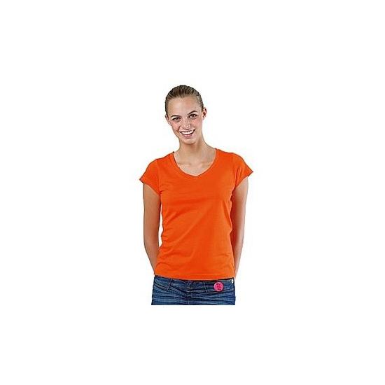 Voordelige dames shirtjes bodyfit oranje