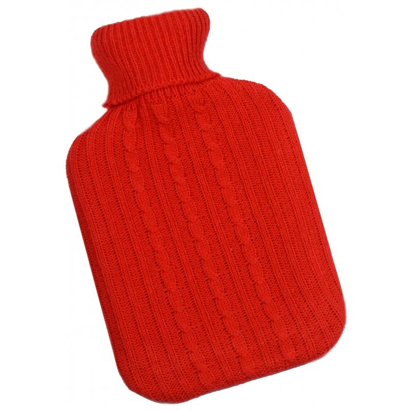 Image of Warmtekruik met rode gebreide hoes 2 L