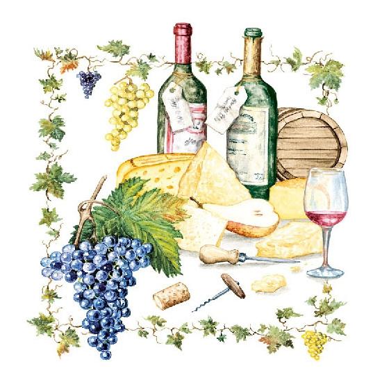 Wijn/kaas servetten 20 stuks. papieren servetten bedrukt met plaatjes van wijn en kaas. de servetten zijn 33 ...