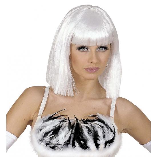 Image of Witte damespruik op schouderlengte