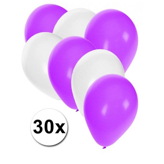 Image of Witte en paarse ballonnetjes 30 stuks