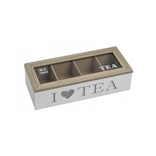Image of Witte houten theedoos met 4 vakken I love tea
