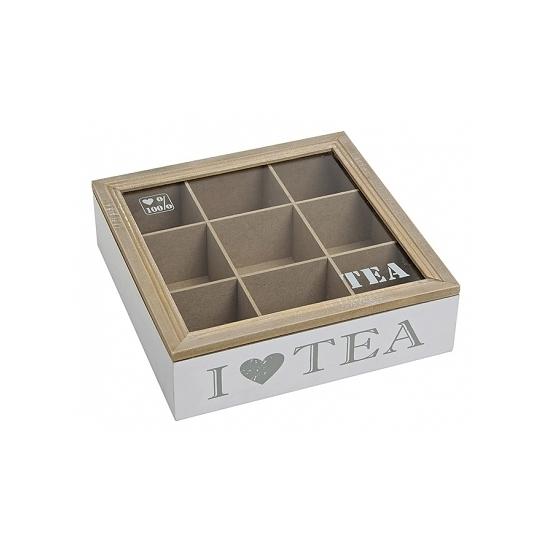 Image of Witte houten theedoos met 9 vakken I love tea