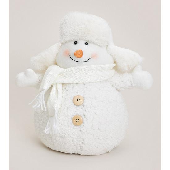 Image of Witte sneeuwpop met bontmuts