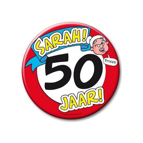 Image of XXL verjaardags button 50 jaar Sarah