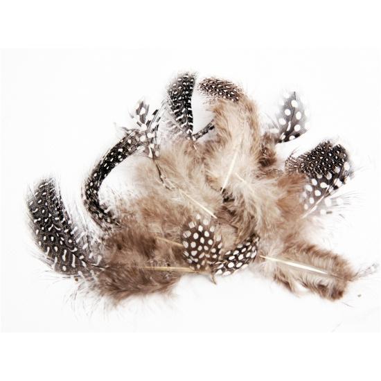 Image of Zakje met 40 zwarte en witte veren