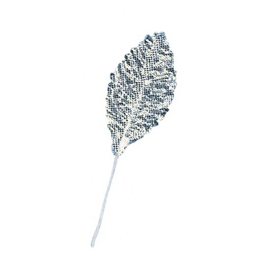 Image of Zakje van 12 zilveren brokaat blaadjes
