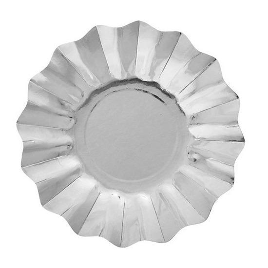 Image of Zilveren diepe feestbordjes zilver 21 cm