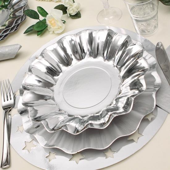 Image of Zilveren diepe feestbordjes zilver 27 cm