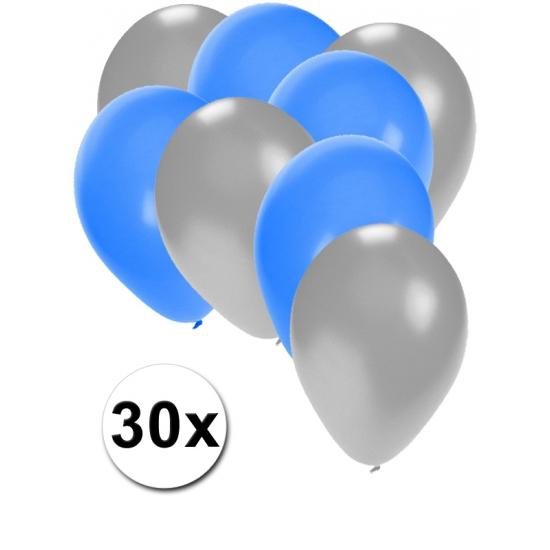 Image of Zilveren en blauwe ballonnetjes 30 stuks