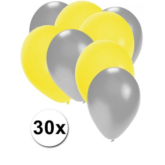 Image of Zilveren en gele ballonnetjes 30 stuks