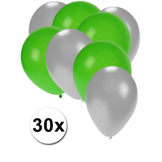 Image of Zilveren en groene ballonnetjes 30 stuks