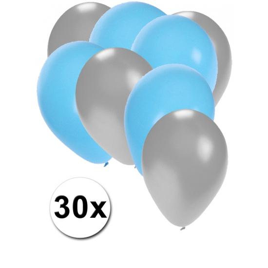 Image of Zilveren en lichtblauwe ballonnetjes 30 stuks