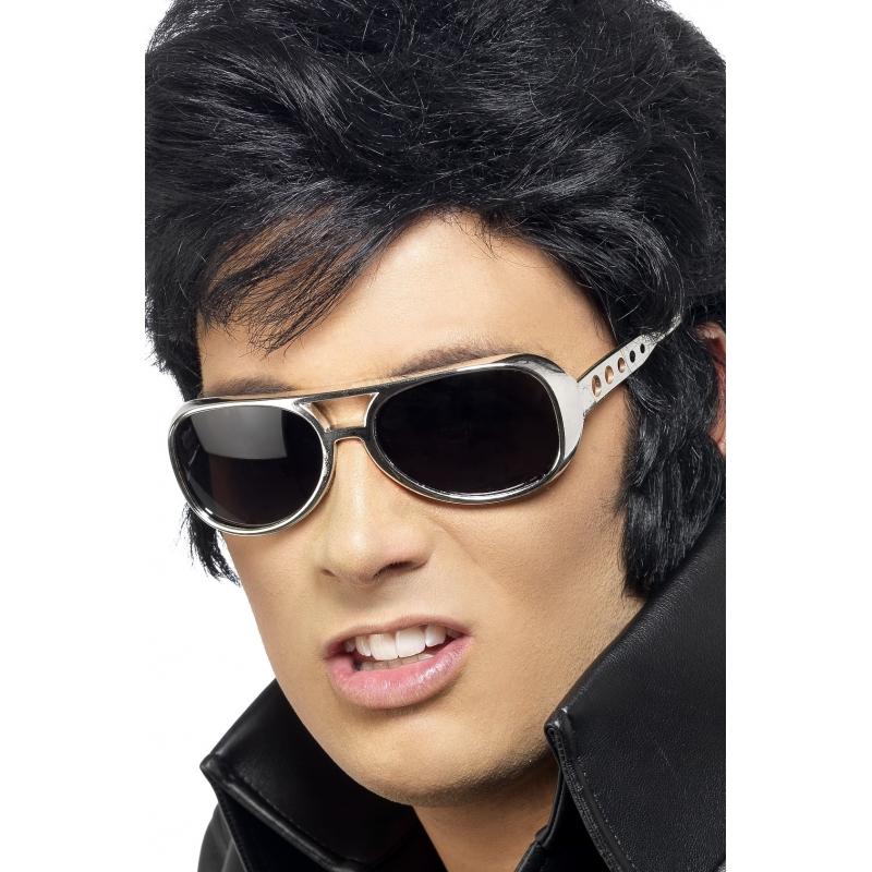 Zilveren feest brillen Elvis stijl